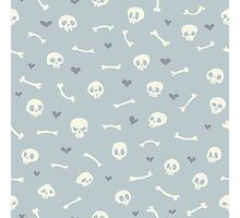 Cartoon Skulls with Hearts on Light Blue Background Seamless Pattern  Photographic Print