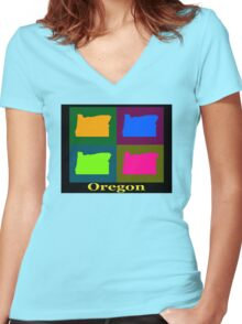 Colorful Oregon Pop Art Map Women's Fitted V-Neck T-Shirt