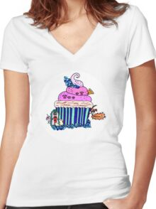 Emily Bett - Precious Unicorn Cupcake Women's Fitted V-Neck T-Shirt