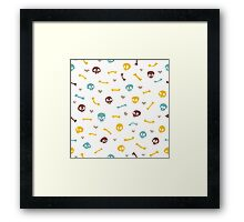 Cartoon Skulls with Hearts on White Background Seamless Pattern Framed Print