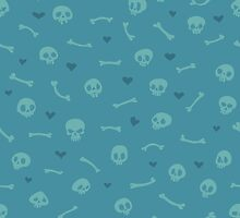 Cartoon Skulls with Hearts on Blue Background Seamless Pattern by Voysla