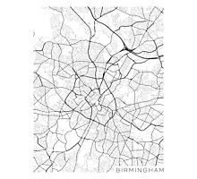 Birmingham Map, England - Black and White Photographic Print