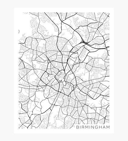 Birmingham Map, England - Black and White Photographic Print