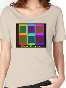 Colorful New Mexico Pop Art Map Women's Relaxed Fit T-Shirt