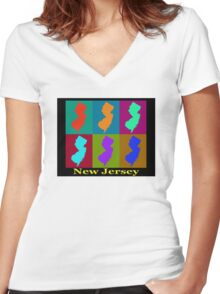 Colorful New Jersey State Pop Art Map Women's Fitted V-Neck T-Shirt