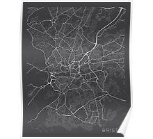 Bristol Map, England - Gray Poster