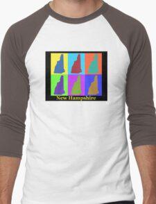Colorful New Hampshire Pop Art Map Men's Baseball ¾ T-Shirt