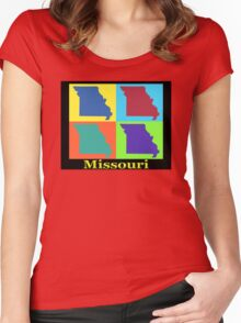Colorful Missouri State Pop Art Map Women's Fitted Scoop T-Shirt