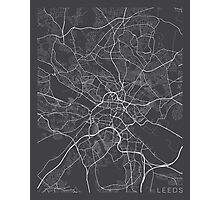 Leeds Map, England - Gray Photographic Print
