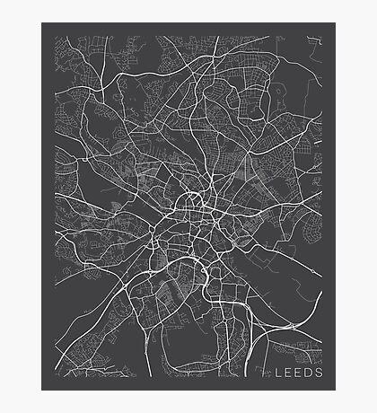 Leeds Map, England - Gray Photographic Print