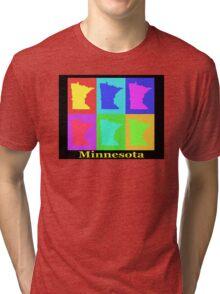 Colorful Minnesota State Pop Art Map Tri-blend T-Shirt