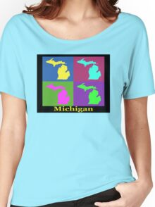 Colorful Michigan State Pop Art Map Women's Relaxed Fit T-Shirt