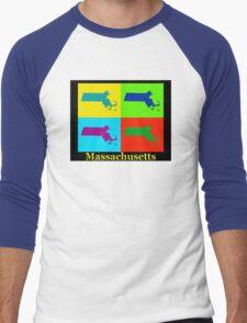 Colorful Massachusetts Pop Art Map Men's Baseball ¾ T-Shirt