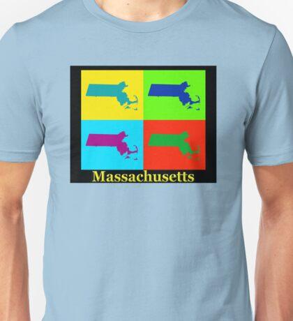 Colorful Massachusetts Pop Art Map Unisex T-Shirt