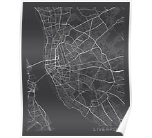 Liverpool Map, England - Gray Poster