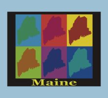 Colorful Maine Pop Art Map One Piece - Short Sleeve