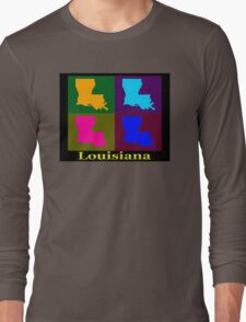 Colorful Louisiana Pop Art Map Long Sleeve T-Shirt