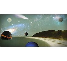 beach with planets and comet Photographic Print