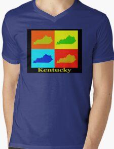 Colorful Kentucky Pop Art Map Mens V-Neck T-Shirt