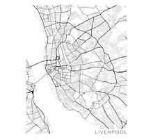 Liverpool Map, England - Black and White Photographic Print