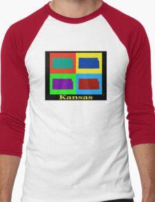 Colorful Kansas Pop Art Map Men's Baseball ¾ T-Shirt
