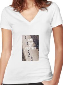 Bomb Hills Not Countries Women's Fitted V-Neck T-Shirt