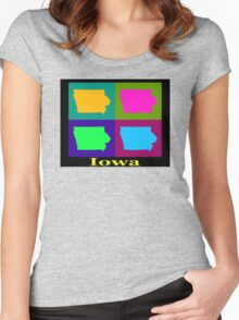 Colorful Iowa Pop Art Map Women's Fitted Scoop T-Shirt