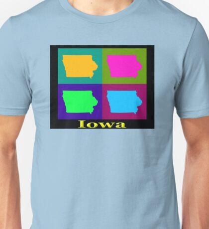 Colorful Iowa Pop Art Map Unisex T-Shirt