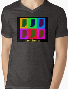 Colorful Indiana State Pop Art Map Mens V-Neck T-Shirt