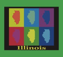 Colorful Illinois State Pop Art Map Kids Tee