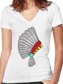 Indian Headdress Women's Fitted V-Neck T-Shirt