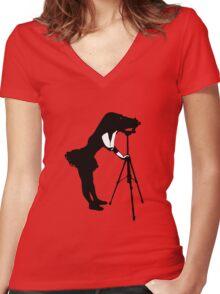 Photographer Grrl Women's Fitted V-Neck T-Shirt
