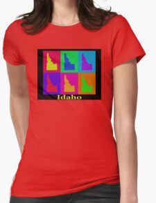 Colorful Idaho State Pop Art Map Womens Fitted T-Shirt