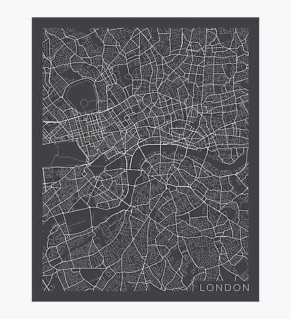 London Map, England - Gray Photographic Print