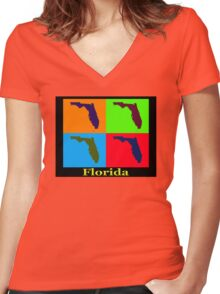 Colorful Florida State Pop Art Map Women's Fitted V-Neck T-Shirt