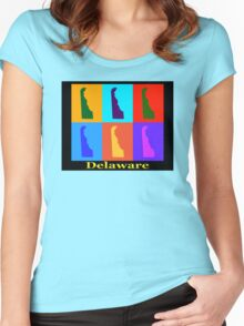 Colorful Delaware State Pop Art Map Women's Fitted Scoop T-Shirt