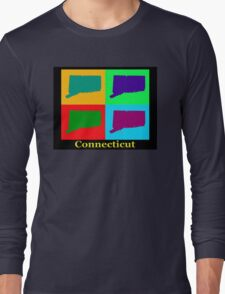 Colorful Connecticut State Pop Art Map Long Sleeve T-Shirt