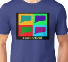 Colorful Connecticut State Pop Art Map Unisex T-Shirt