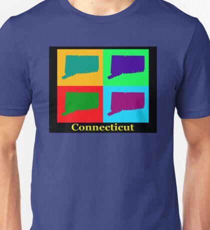 Colorful Connecticut State Pop Art Map Unisex T-Shirt