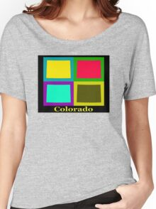 Colorful Colorado State Pop Art Map Women's Relaxed Fit T-Shirt
