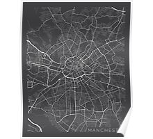 Manchester Map, England - Gray Poster