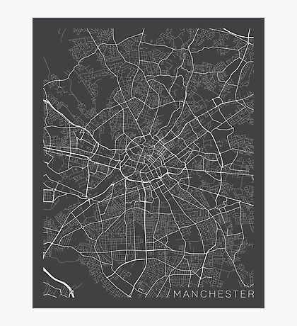 Manchester Map, England - Gray Photographic Print