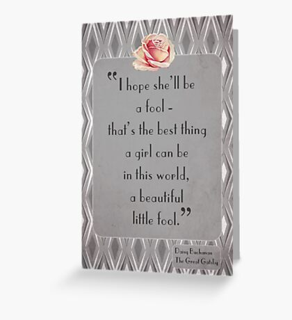 Great Gatsby Illustrated Quote Greeting Card
