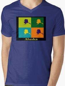 Colorful Alaska State Pop Art Map Mens V-Neck T-Shirt