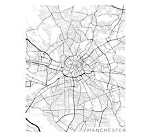 Manchester Map, England - Black and White Photographic Print
