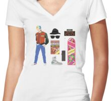 Back to the Future : Time Traveler Essentials 2015 Women's Fitted V-Neck T-Shirt