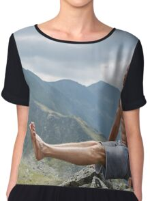 Man doing fitness on a mountain Chiffon Top