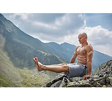 Man doing fitness on a mountain Photographic Print