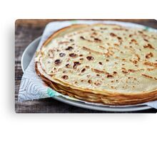 Stack of thin fine pancakes Canvas Print