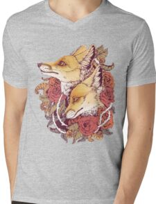 Red Fox Bloom Mens V-Neck T-Shirt